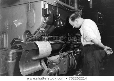 Stock photo: vintage printing machine