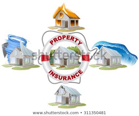Home insurance. Property insurance. Lifebuoy, fire, flood, tornado. Stock photo © orensila