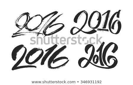 happy new year 2016   calligraphy of numbers with a brush and black ink vector illustration stock photo © arzawen