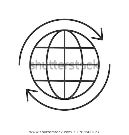 Tierra flecha alrededor línea icono web Foto stock © RAStudio