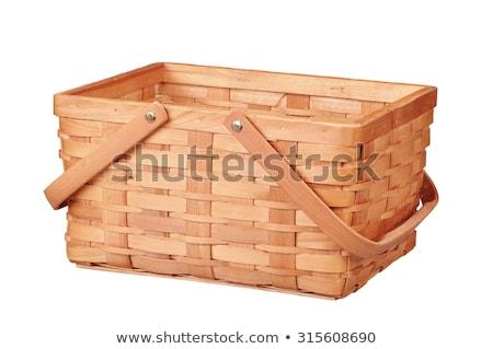 Empty wicker basket with handle. Straw basket Stock photo © orensila