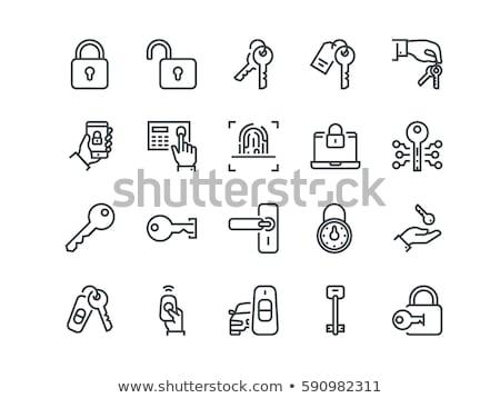 Kulcs ikon felirat zár gomb széf Stock fotó © kiddaikiddee