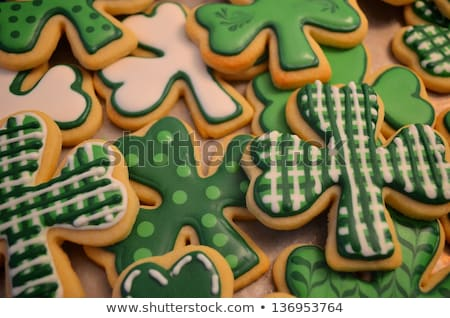 Green shamrock cookies for St Patrick's Day Stock photo © ozgur