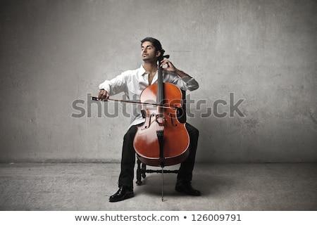man · spelen · cello · jonge · kaukasisch · vergadering - stockfoto © rastudio
