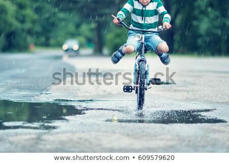 Fahrrad Tour Regen Lächeln Spaß Stock foto © meinzahn