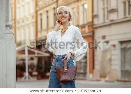 Foto stock: Marrom · blusa · belo · alto · indiano · mulher