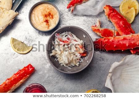 Cangrejo carne aperitivo servido pepino rebanadas Foto stock © Klinker