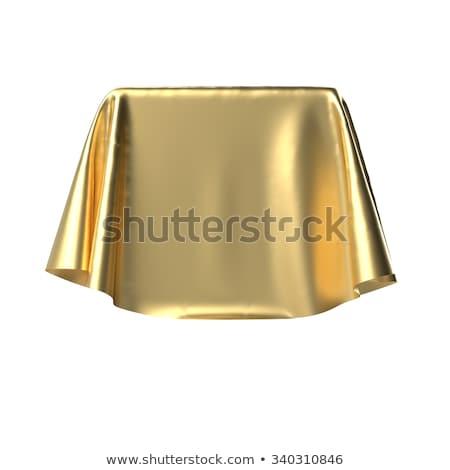 vak · gedekt · gouden · weefsel · geïsoleerd · witte - stockfoto © pakete