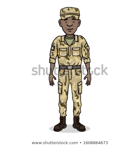A young soldier at the desert Stock photo © bluering