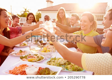 People eating and having party outdoors Stock photo © deandrobot