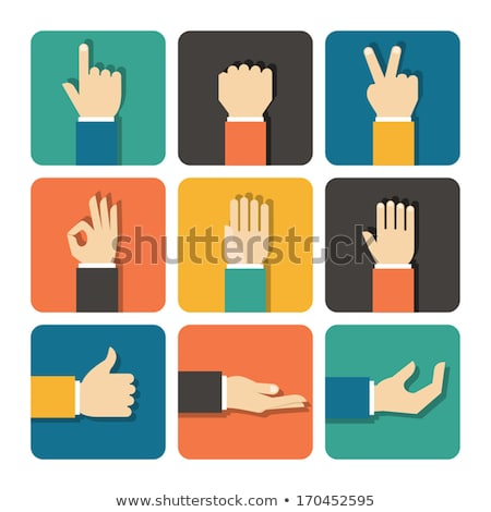 Stock photo: Hand flat vector design set with okay gesture