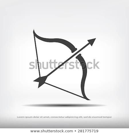 лук стрелка икона серый зеленый древесины Сток-фото © angelp