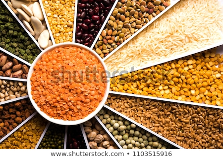 Stock photo: Pulses Food Background Assortment - Legume Kidney Beans Peas Lentils In Square Cells Closeup To