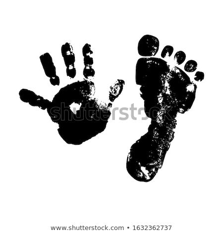 Fehér textúra baba lábnyomok vektor formátum Stock fotó © balasoiu