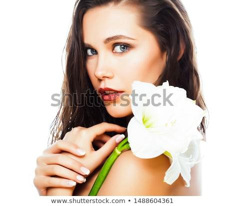 Jonge mooie vrouw bloem geïsoleerd witte Stockfoto © iordani
