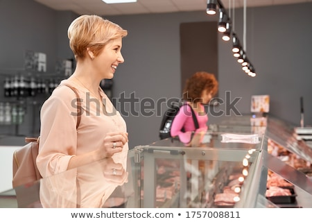 ongebruikelijk · foto · vrouw · naar · camera · geïsoleerd - stockfoto © deandrobot