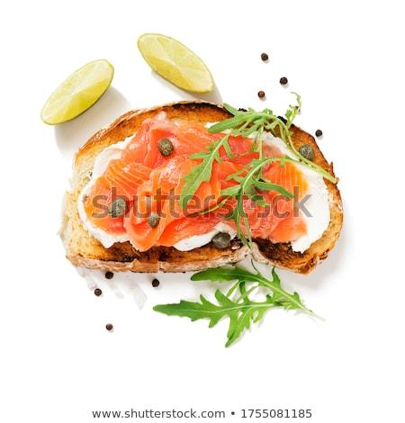 Toast Käse Lachs Essen Frühstück Sandwich Stock foto © M-studio