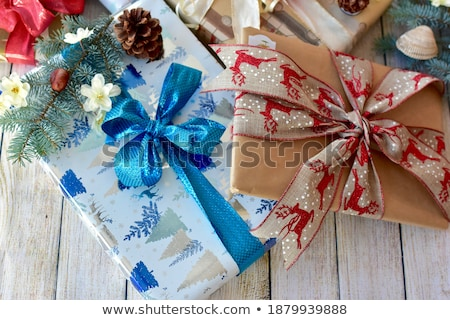 Pretty wrapped parcels for christmas Stock photo © BarbaraNeveu