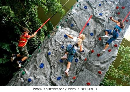 Determined boy practicing rock climbing Stock photo © wavebreak_media
