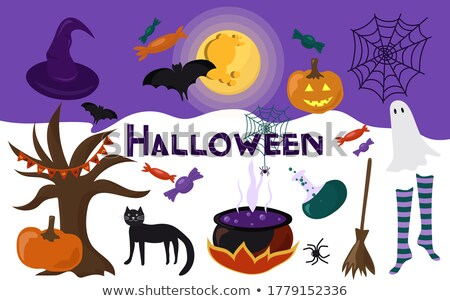 cute vector ghosts icons halloween design set kawaii black stroke ghost collection on white backgr stock photo © redkoala