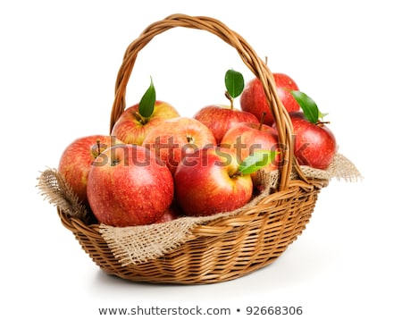Pełny wiklina koszyka czerwony jabłka odizolowany Zdjęcia stock © orensila