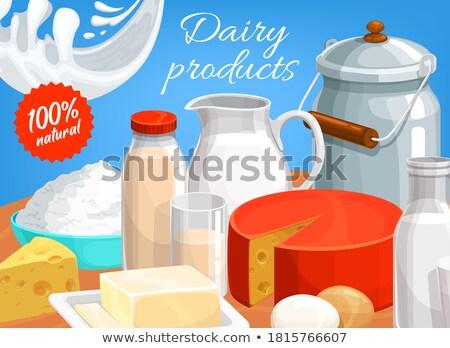 Tányér friss tej fehér folyadék friss egészséges Stock fotó © Digifoodstock
