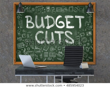 Hand Drawn Budget Cuts on Office Chalkboard. 3D. Stock photo © tashatuvango