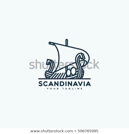 rajz · viking · hajó · terv · művészet · csónak - stock fotó © rastudio