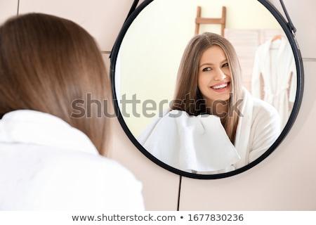Retrato hermosa saludable mujer albornoz cabeza Foto stock © deandrobot