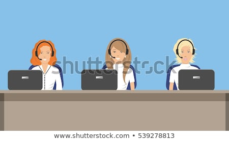 woman telephone operator in headphones with a microphone can not Stock photo © Traimak