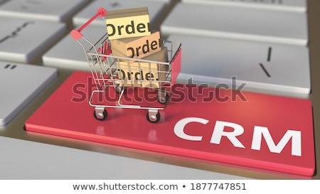 Crm klawiatury kluczowych mężczyzna 3d palec Zdjęcia stock © tashatuvango