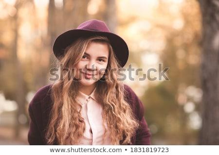 Lány 14 visel kalap gyermek tél Stock fotó © IS2
