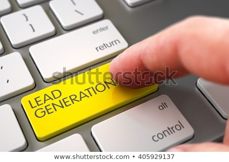 Stockfoto: Hand Touching Lead Generation Key