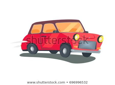 Ikon piros retro állomás vagon vektor Stock fotó © robuart