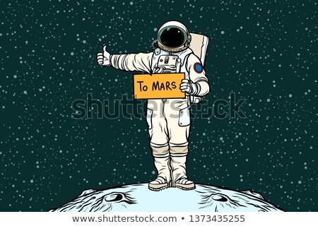 Astronot pop art Retro el adam sanat Stok fotoğraf © studiostoks
