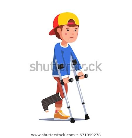 Criança menino estudante muleta ilustração ferido Foto stock © lenm