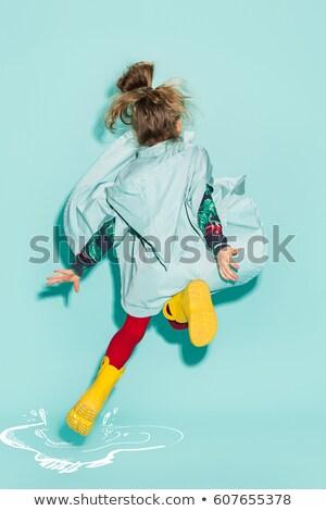 kid girl rain stock photo © lenm