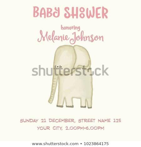 bebek · duş · kart · şablon · komik · karalama - stok fotoğraf © balasoiu