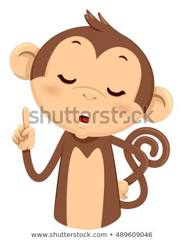 Mascotte aap een illustratie cute vingers Stockfoto © lenm