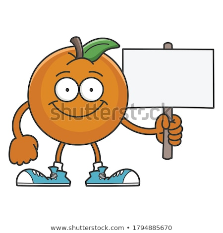 Smiling Orange Fruit Cartoon Mascot Character Holding A Blank Sign Stock photo © hittoon