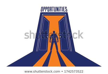 Man half in half out of doorway. Stock photo © IS2