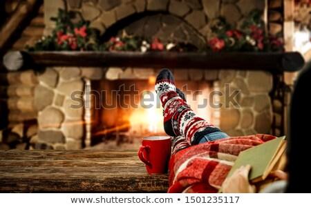 Navidad mujer piernas a rayas calcetines ilustración Foto stock © adrenalina