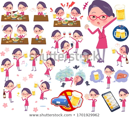 A set of women related to alcohol.There is a lively appearance  Stock photo © toyotoyo