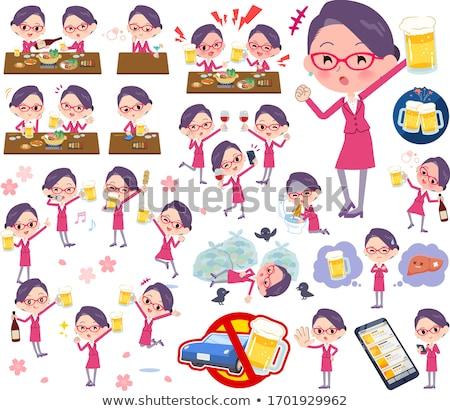 Establecer mujeres alcohol animado apariencia bollo Foto stock © toyotoyo