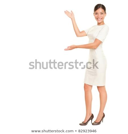 belo · feliz · mulher · jovem · de · mãos · dadas · grato · gesto - foto stock © feedough