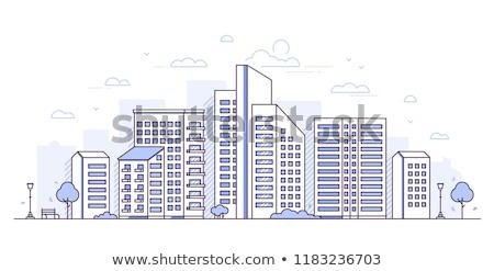 city block   modern thin line design style vector illustration stock photo © decorwithme