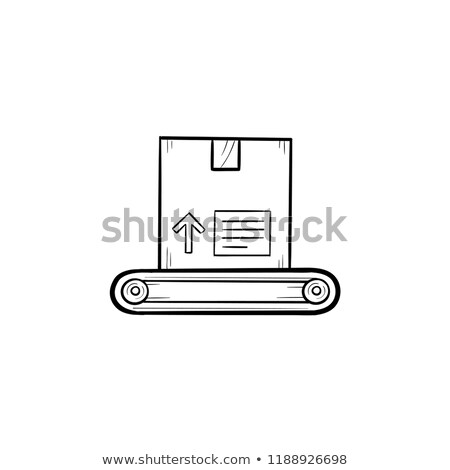 Conveyor belt with box hand drawn outline doodle icon. Stock photo © RAStudio