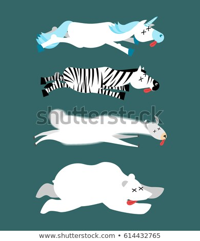 Dead animals set 1. Unicorn and zebra. Llama and polar bear. ani Stock photo © popaukropa