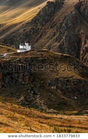small house on autumn mountains stock photo © wildman