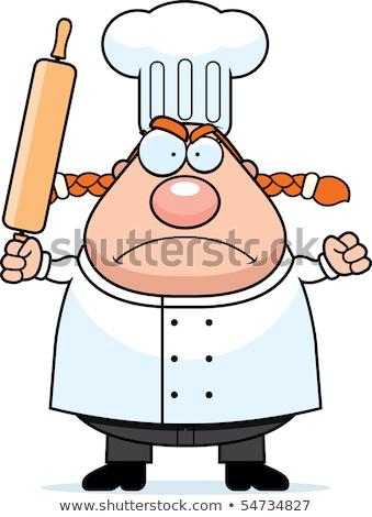 cartoon angry chef woman stock photo © cthoman